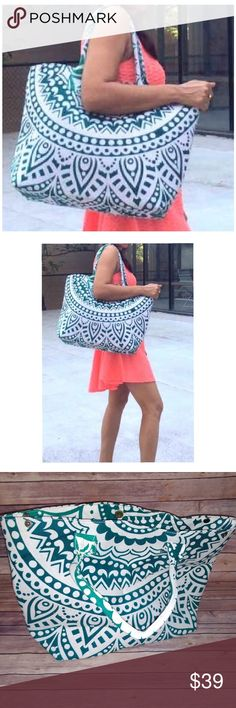 """Beach Tote Boutique - new; no retail tag. Large beach bag. Or may be used for shopping, travel, yoga or summer picnics and outings.   Large size:    Bottom depth/width: 6""""    Height: 13""""   Length: 16"""" + the body is larger.   Cotton material. Features an inside zipper pocket and a couple small pockets for cell phone or lipstick.   White with a blue - green pattern. Somewhat paisley pattern. Bags Totes"""