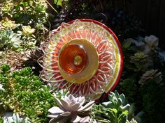 .Drought Resistant Plate Flowers. #100.         Garden Yard Art glass and ceramic plate flower