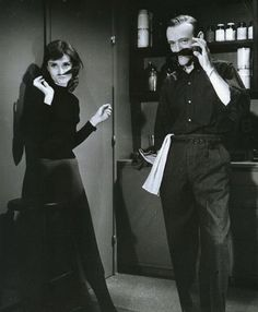 Audrey Hepburn and Fred Astaire pretend to have mustaches. worth posting.