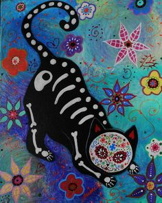 check out original painting for auction on Ebay, search for PRISARTS. El Gato Cat.Mexican Folk Art Paintings