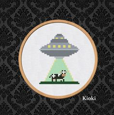 Alien and cow Cross Stitch Pattern available for instant download via Etsy.