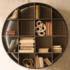 Round Cubby Shelf - Iron Accents