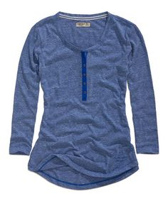 Another great find on #zulily! Blue Button-Front Three-Quarter Sleeve Top #zulilyfinds