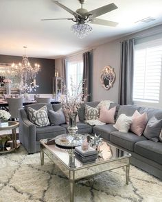 Glamour Living Room, Decor Home Living Room, Elegant Living Room, Chic Living Room, Living Room Grey, Living Room Designs, Home Decor, Romantic Living Room, Salons Cosy