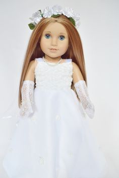 Wedding Dress Compatible with American Girl Dolls 18 Inch Doll Clothes and Accessories Brittanys My Premium Communion Gown