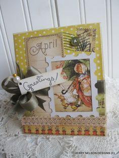 vintage handmade card- APRIL GREETINGS homemade card- card for sister- card for mom- card for friend. $7.75, via Etsy.