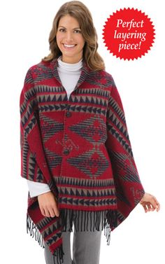 Aztec Print Button Front Shawl $14.99