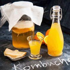 Kombucha - grundrecept - Recept - Tasteline.com Kombucha, Kimchi, Paleo, Detox, Alcoholic Drinks, Health Fitness, Pudding, Sweets, Healthy