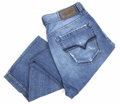 DIESEL Industry Quratt Jeans 33 x 26 Straight Leg Denim Button Fly 008GA Wash #DIESEL #ClassicStraightLeg