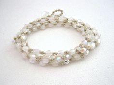 Sparkly+White+Wrap+Bracelet+Beaded+Boho+Wrap+by+KrystenDesign