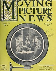 Moving Picture News 11 Feb 1911 showing a scene from the silent film For Washington.  The film is lost.
