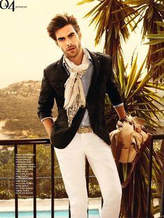 White Pants Checker Shirt Scarf1
