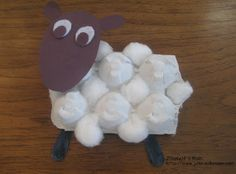 Spring lamb built on egg carton for Tinkerlab's creative challenge by JDaniel 4's Mom.