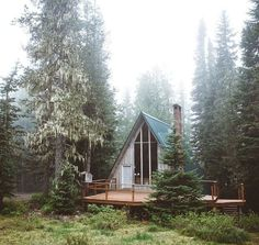 a frame cabin in the woods via The Shiny Squirrel A Frame Cabin, A Frame House, Bohemian House, Cabin Homes, Log Homes, Cabin In The Woods, Little Cabin, Cabins And Cottages, Cozy Cabin