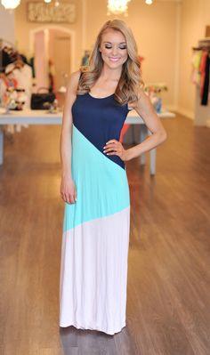 Dottie Couture Boutique - Navy/Mint/Peach Tank Dress, $46.00 (http://www.dottiecouture.com/navy-mint-peach-tank-dress/)