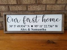 Coordinates Wood Sign Our First Home Sign Latitude Longitude Sign GPS Custom Sign Farmhouse Decor Farmhouse Wall Decor New Home Sign