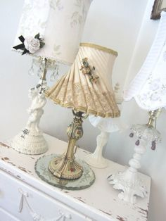 Vintage Lamp Shade - Shabby French Farmhouse Lace - Antique Millinery Velvet Trim & Flowers FMNs. $78.00, via Etsy.