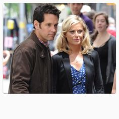 """Paul Rudd and Amy Phoehler on the set of  """" They Came Together """""""