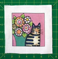 Tabby Cat Quilt Block Art Fabric Craft Panel  by SusanFayePetProjects, $3.50 #cat #tabby #fabric