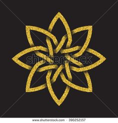 Golden glittering #logo template in Celtic knots style on black background. Tribal #symbol in octagonal flower form. Gold ornament for jewelry design.