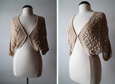 Vintage Boho Cream Crochet Slouchy Cocoon Kimono by 601VINTAGE, $35.00