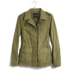 MADEWELL Outbound Jacket ($98) ❤ liked on Polyvore featuring outerwear, jackets, olive tree, cotton jacket, field jacket, military style field jacket, army green jacket and olive jacket