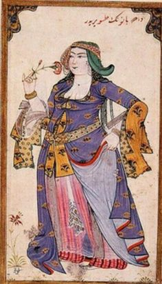 Turkish garb - love the color and the patterns.  The 18th centyry miniaturist Levni almost always depicted women holding flowers and with flower motifs in their appared. His paintings are noted for their colour palette of secondary shades and gentle expressions on the faces of his figures.  TOPKAPI PALACE MUSEUM.