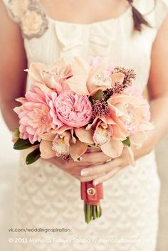 #wedding #flowers with soft pink cymbidium orchids  - (re) Pinned by www.westpointorchids.com