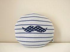 Coussin rond  Moustache rayé bleu-gris