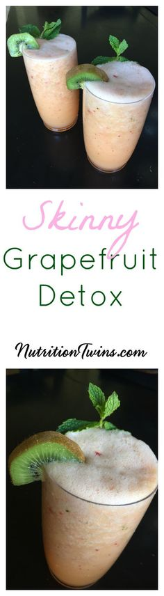 """Grapefruit """"Detox"""" Smoothie   Only 102 Calories   Helps flush bloat   Feel lighter & get back on the healthy track  Great for healthy skin, strong immune system & ridding waste   For Nutrition & Fitness Tips & RECIPES, PLEASE sign up for our FREE NEWSLETTER www.NutritionTwins.com"""