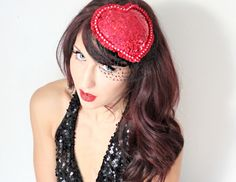 Heart Cocktail Hat Red Glitter Pin Up Girl Red Pearls by deLoop