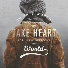 Take heart, His love had overcome the world! #dailyinspiration #bibleverse #Jesus #Love #worship #praise #truth #glorious #wonderful #redeemer #savior www.stevewiersum.com