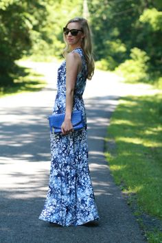 Standing Tall: Peter Som for Kohls blue floral maxi dress, black Chanel sunglasses, bright cobalt blue Normandy Brahmin clutch