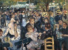 Auguste Renoir, Le Moulin de la Galette, 1876  #impressionisme schilderij spel van licht schaduw picturaal: niet duidelijk afgelijnd  Renoir probeert een gevoel over te brengen.
