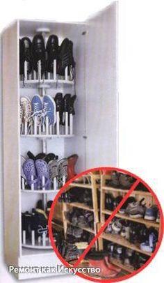 ШКАФ ДЛЯ ОБУВИ СВОИМИ РУКАМИ  Для хранения кроссовок, тапок, ботинок и прочей обуви нужно много места. К тому же почти невозможно содержать обувь в порядке, когда она свалена в кучу. Этих неудобств легко избежать, если у нас сделана полка для обуви своими руками.  Нередко в прихожей обуви скапливается почти на целый магазин, но тут она зачастую беспорядочно разбросана. Надо, наконец, покончить с этим хаосом. И вот решение: оригинальная конструкция от «Сделай Сам» – карусель, вмещающая не…