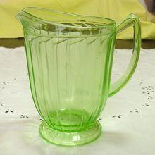 """Jeannette Glass, Depression Green Pitcher, Sierra or """"Pinwheel"""" pattern - 1931-33"""