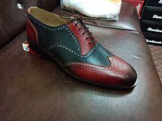 Handmade men black and red shoes, leather wingtip brogue shoes, men dress shoes - Dress/Formal