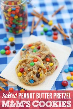 One of the best cookies I've come up with- sweet and salty with a little crunch. Peanut Butter Pretzel Cookies featuring 2 kinds of M's.  YUM!!
