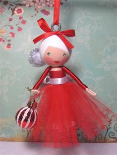 Christmas Crafts : Christmas Tree Ornament Dolly - red tulle fluff skirt (sold) - Ask Christmas - Home of Christmas Inspiration & Deals Christmas Ornaments To Make, Noel Christmas, Homemade Christmas, Christmas Projects, Holiday Crafts, Holiday Fun, Christmas Christmas, Clothespin Dolls, Theme Noel