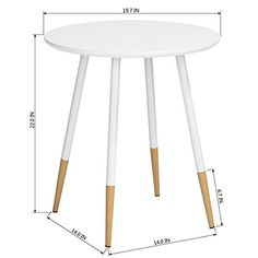 Panana Eiffel Dining Table 60cm Round Table with Wood Legs Side End Sofa Coffee Table Dining Room Living Room Kitchen White