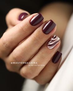 55 Pretty and Awesome Burgundy Nail Art Designs - Skin Care, Nails , Body Makeup, Summer Skin Care Burgundy Nail Designs, Burgundy Nail Art, Classy Nails, Stylish Nails, Cute Nails, Fingernail Designs, Nail Art Designs, Nagellack Design, Nail Polish
