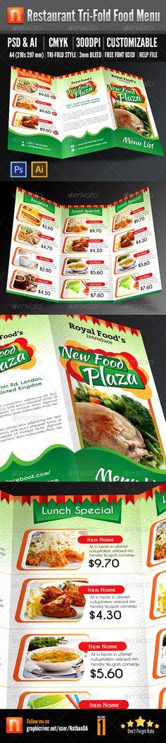 Restaurant Tri-fold Food Menu - V1 - Food Menus Print Templates Download here : http://graphicriver.net/item/restaurant-trifold-food-menu-v1/5069912?s_rank=1341&ref=Al-fatih