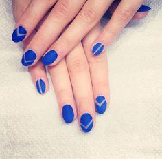 blue nail art negative space