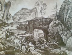 Bergjoch (1876), photograph by Victor Angerer (1839-1894), of the set design by Josef Hoffman (1831-1904), for Act 2, Scene 5, of Die Walküre (1856), by Richard Wagner (1813-1883).
