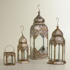 """Now this is pretty! I would still use as a table top lantern outside or inside for gatherings. at WorldMarket.com: Lucia Silver Leaf Lanterns 6.99-39.99 Product Specifications Large: 7.5""""W x 18""""H; Medium: 6""""W x 13""""H; Small: 4.5""""W x 10""""H; Tealight: 3""""W x 4""""H"""