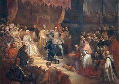 Abdication de Charles quint Louis Gallait - Entre autre, il remet entre les mains de son fils Philippe II d'Espagne la Franche-Comté et lui demande de réparer le château de Joux.