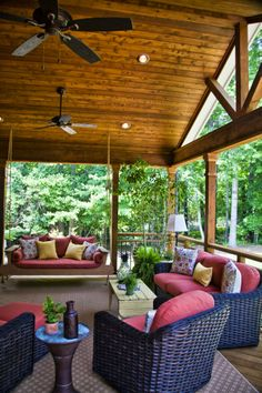 Athens, GA project - Open air porch with cedar ceiling.