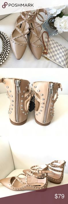 Zara studded flats Beautiful studded flats , Color is taupe - EUR SIZE 38 new with tags and box  NO TRADES  Offers via offer feature only !   IG: iluvshoes22   15% off bundles  Zara Shoes Flats & Loafers