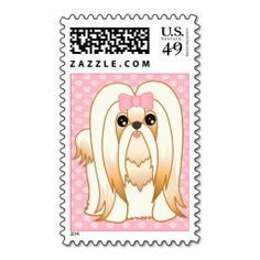 Long Coat Shih Tzu Puppy Dog Cartoon Animal Postage Stamp. Make your own business card with this great design. All you need is to add your info to this template. Click the image to try it out!