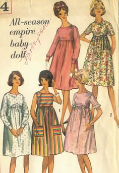 Vintage 1960s Simplicity 5404 Empire Waist Baby by RomasMaison